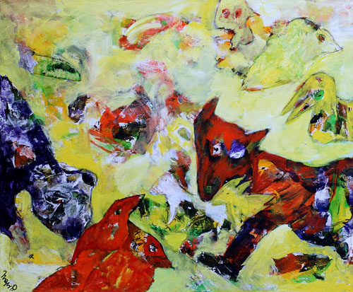 Fugleliv med ræv og hund (100x120)